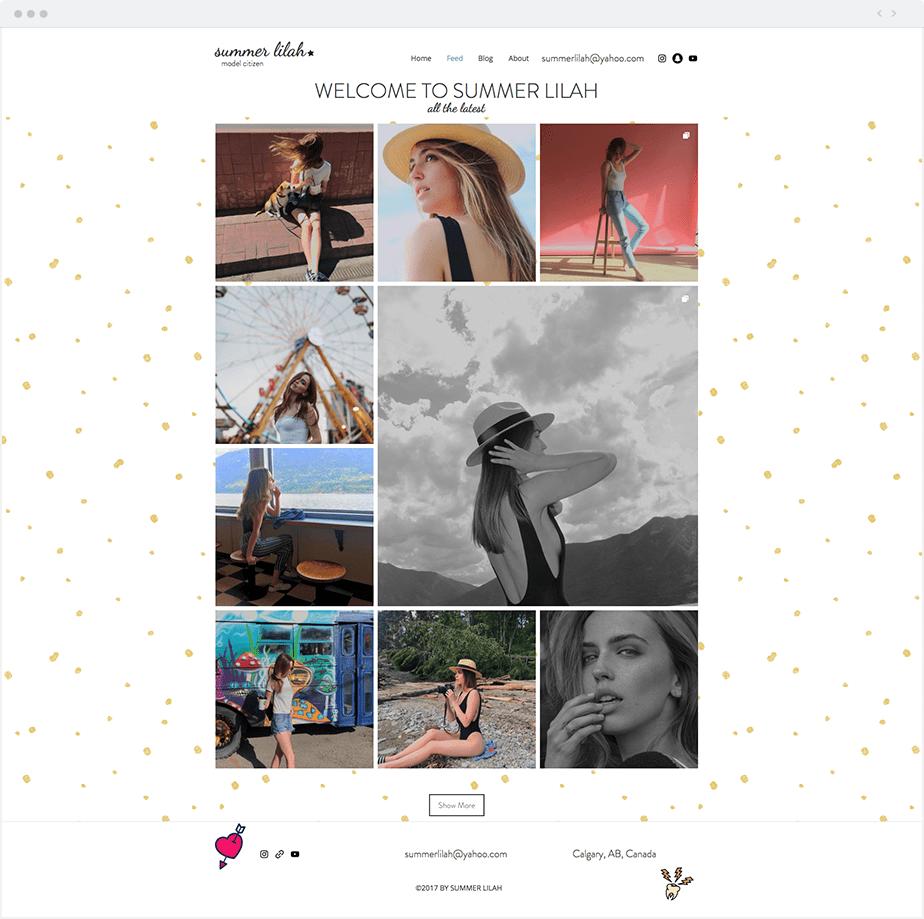 Site Wix da Modelo Summer Lilah