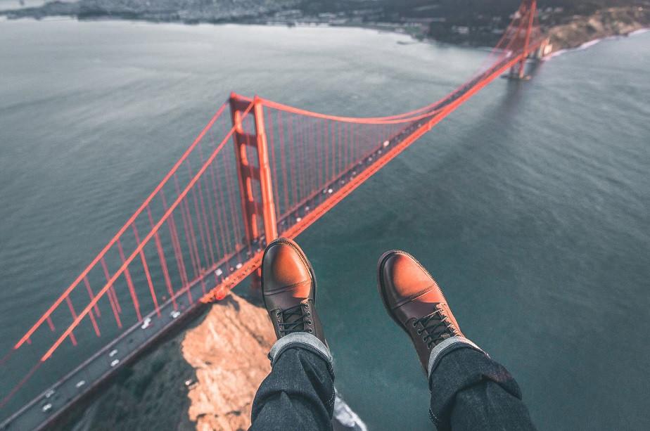 Aerial picture of San Francisco bridges with shoes by Wix photographer Nikk La