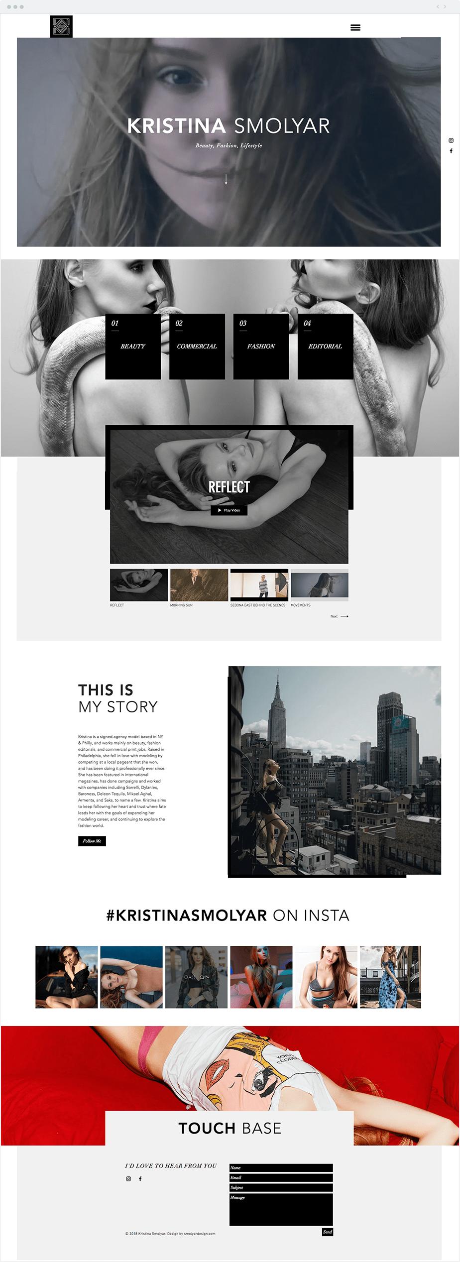 Site Wix da Modelo Kristina Smolyar