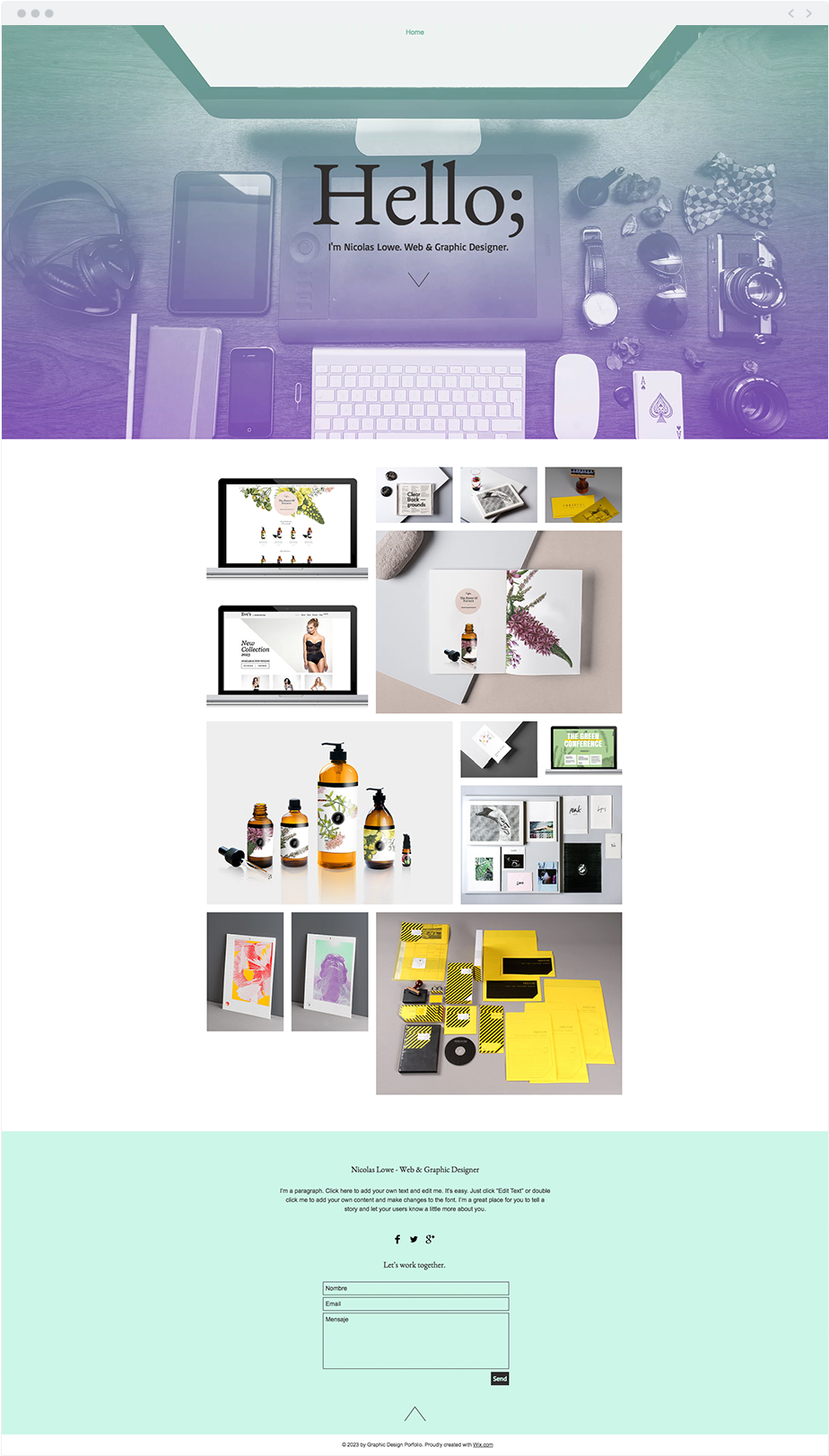 Plantilla Portafolio de Diseño Web