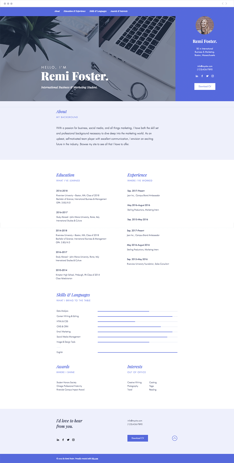 Student resume website template