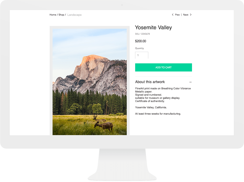 sell your photography online with Wix Art Store