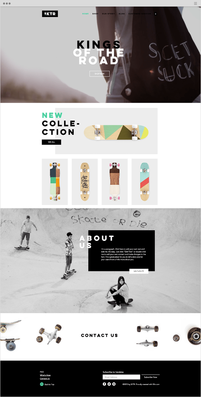 Skateboard Shop Website Template