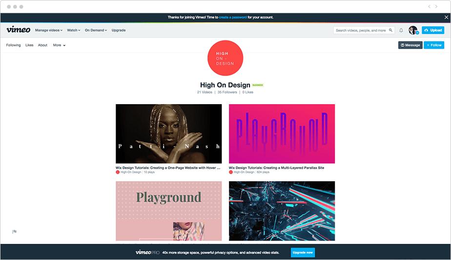 Wix High on Design Vimeo Channel