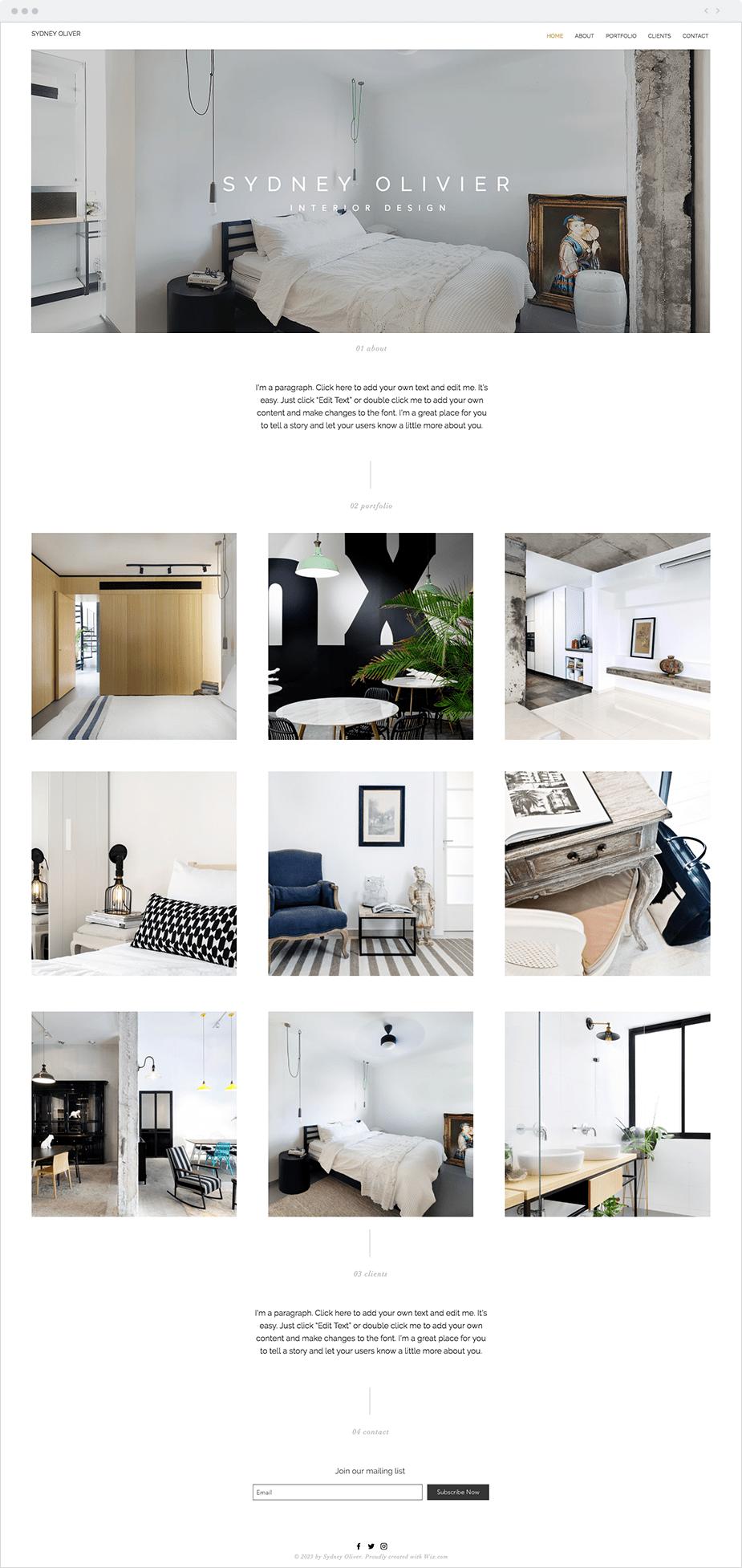 Template Wix para Site de Designer de Interiores