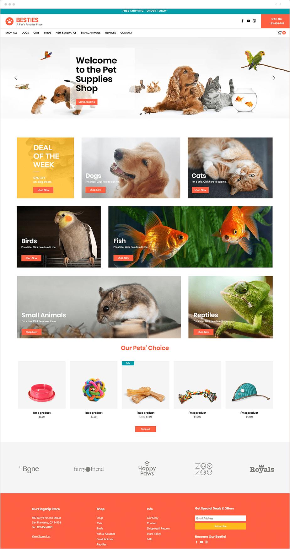 Template para Site de Loja de Suprimentos Pet