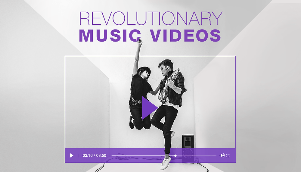 black and white photo of boy and girl band inside a video player