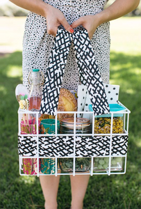 Crate and fabric picnic basket