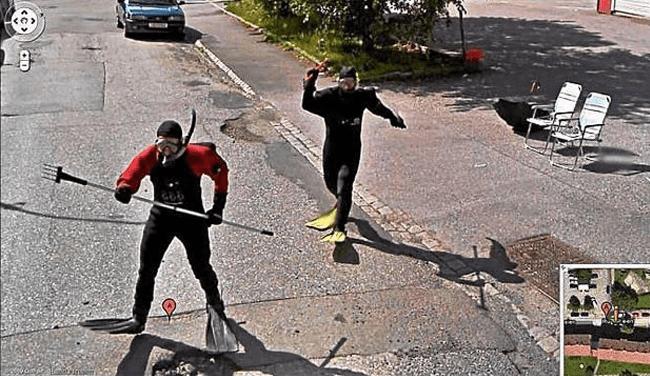 Weird Google Street View: Scuba Chasing