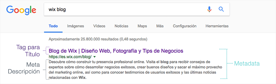 Ejemplo de meta datos en Google