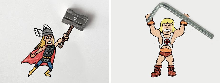 Este artista mistura objetos reais com rabiscos e cria personagens pop