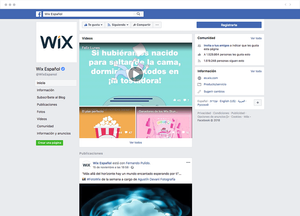Página de Facebook de Wix Español
