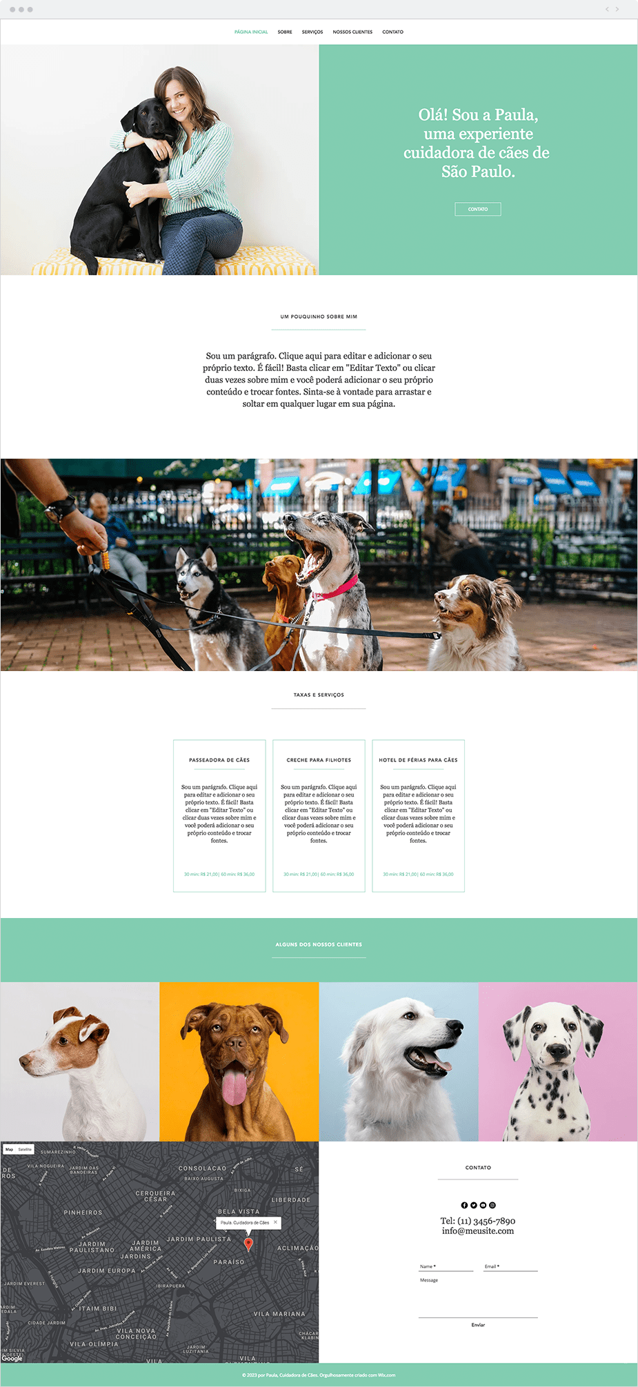 Template para Site de Cuidador de Cães