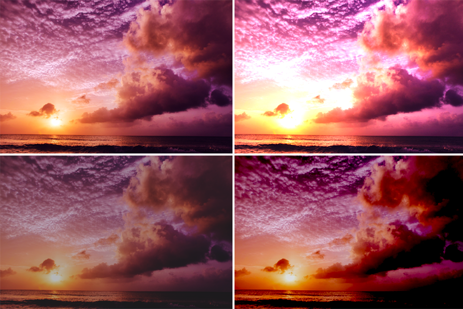 sunset photo with different exposures