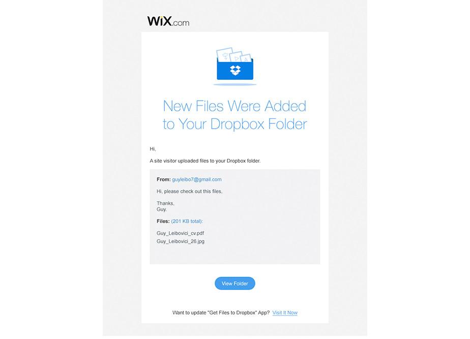 Wix App Market: Get Files to Dropbox