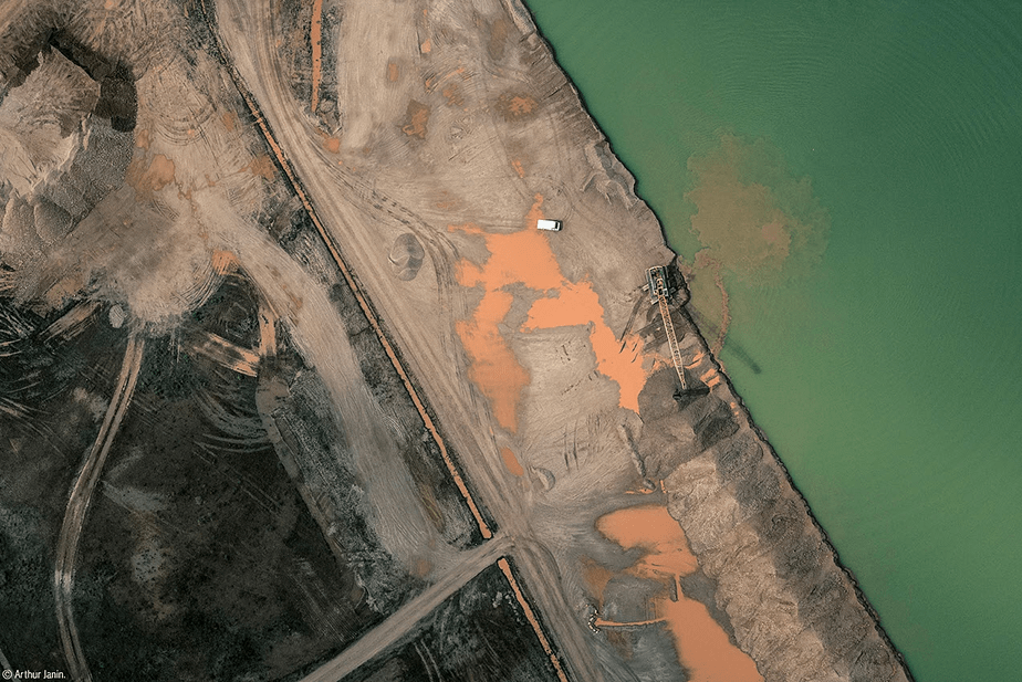 lake construction aerial view
