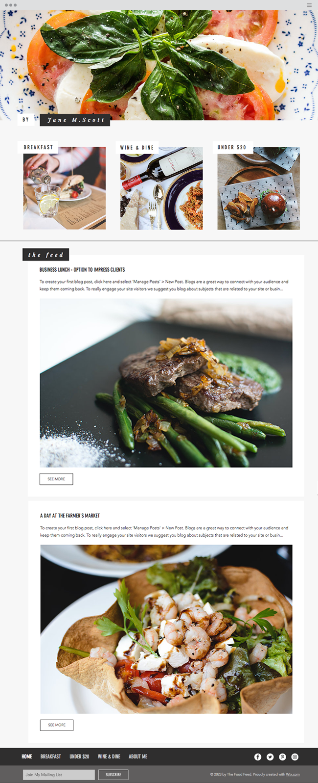 The Food Feed Website Template WIX