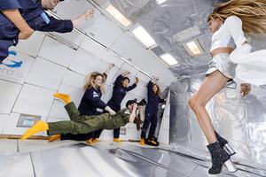 fashion photo shoot in zero gravity
