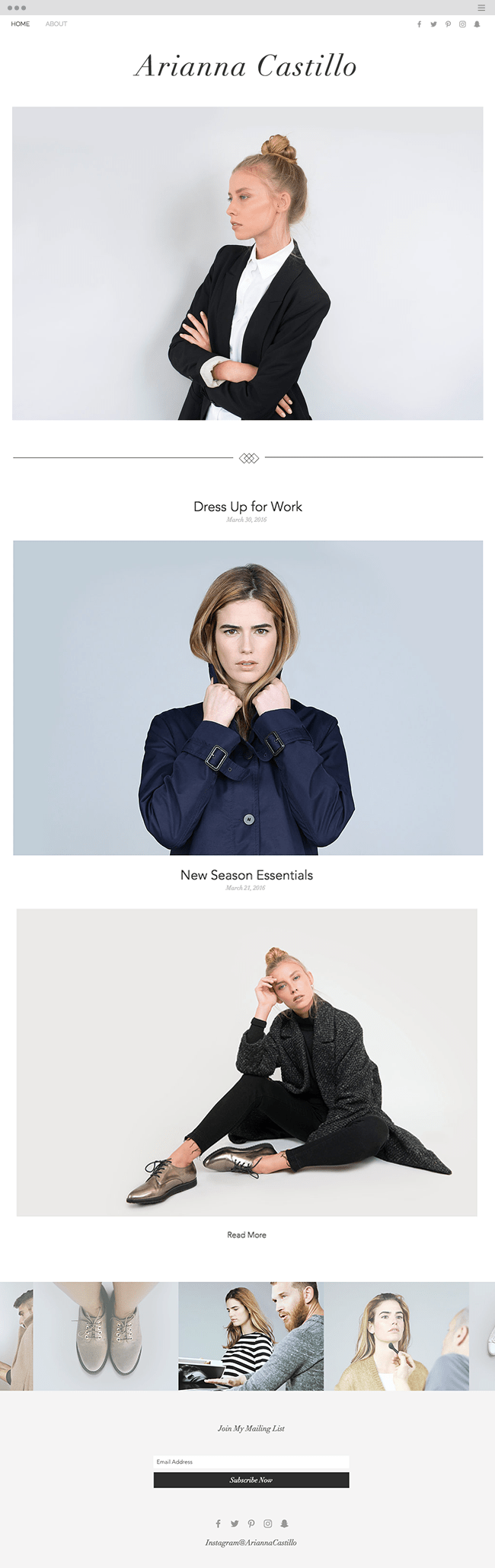Fashionista Blog Website Template WIX