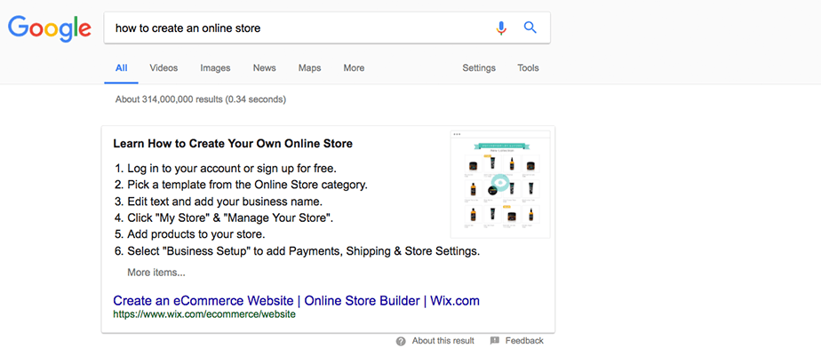 Featured Snippet on a Google SERP