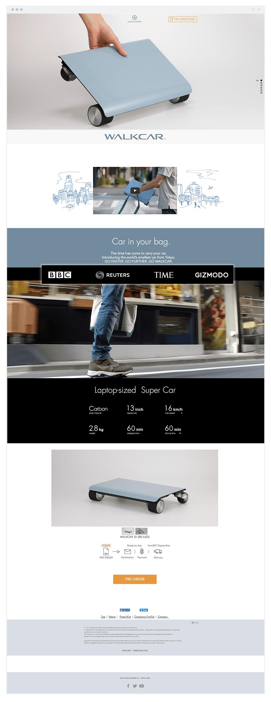 広報の例, Walkcarさんのホームページ