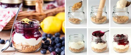 No-bake mason jar cheesecake picnic food ideas
