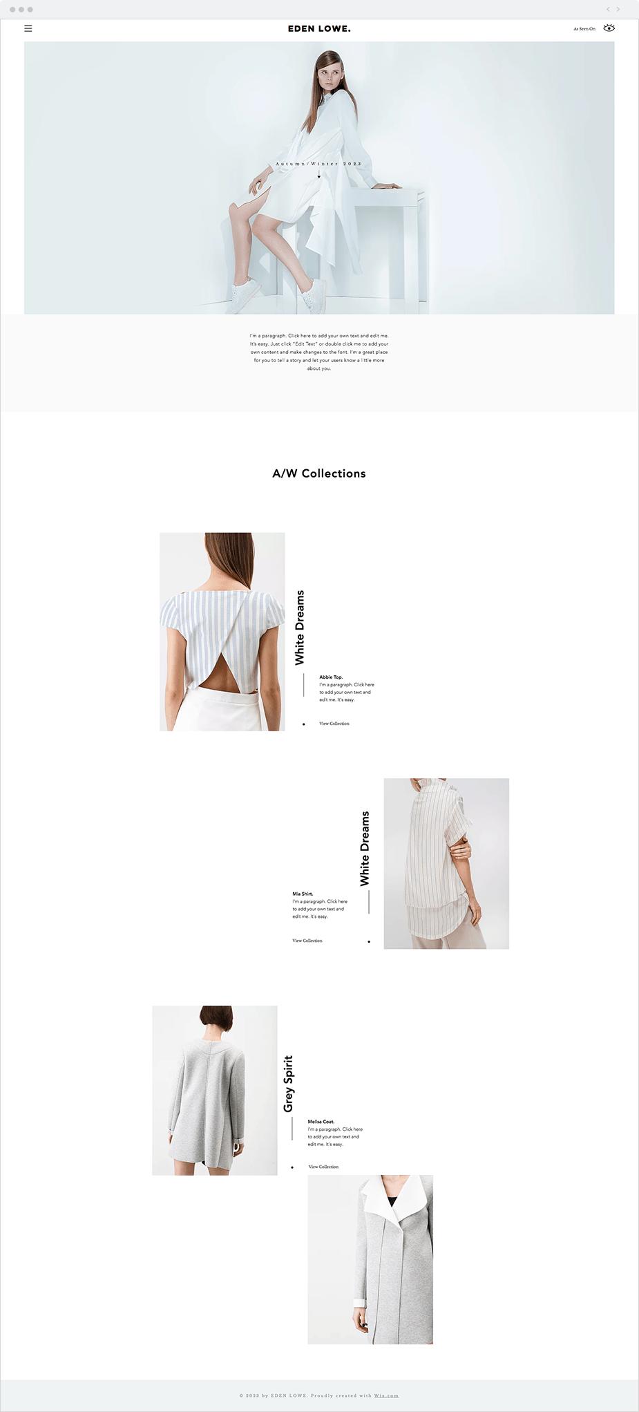 Template Wix para Site de Estilista de Moda