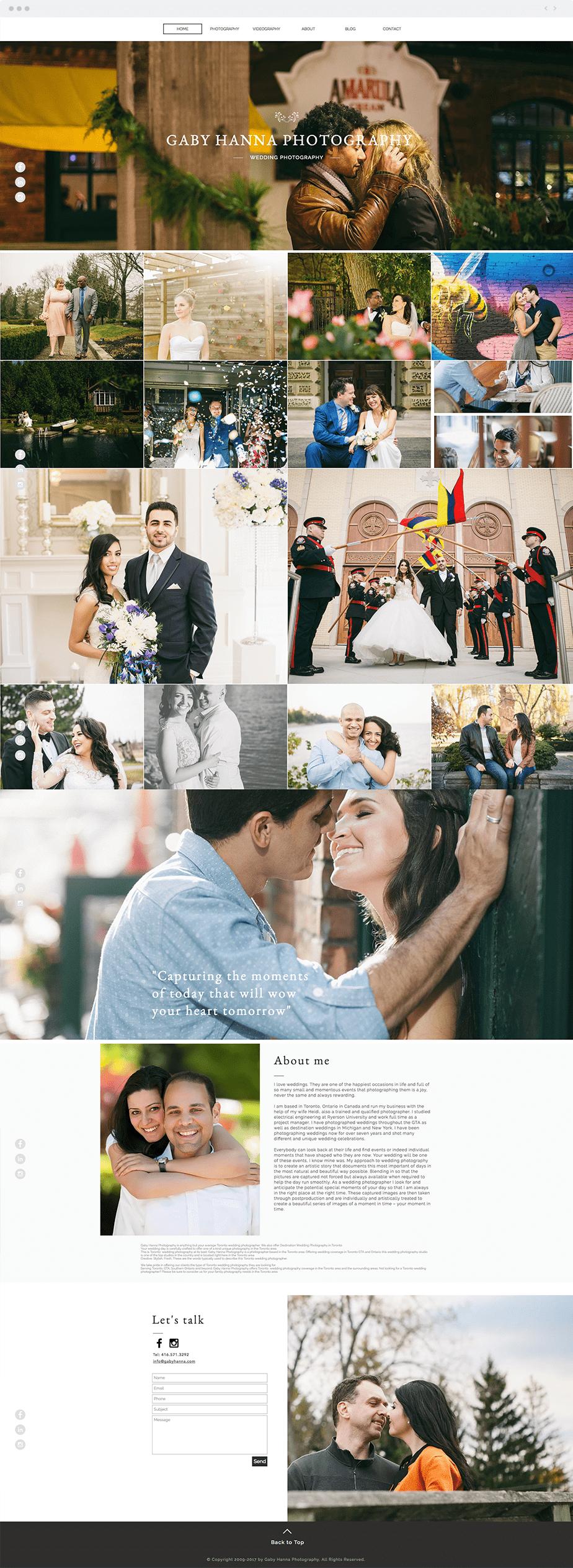 Stunning Wix online portfolio by wedding photographer Gaby Hanna