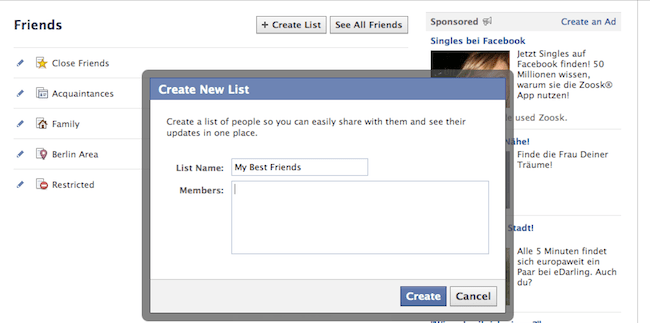 create Facebook friends' lists