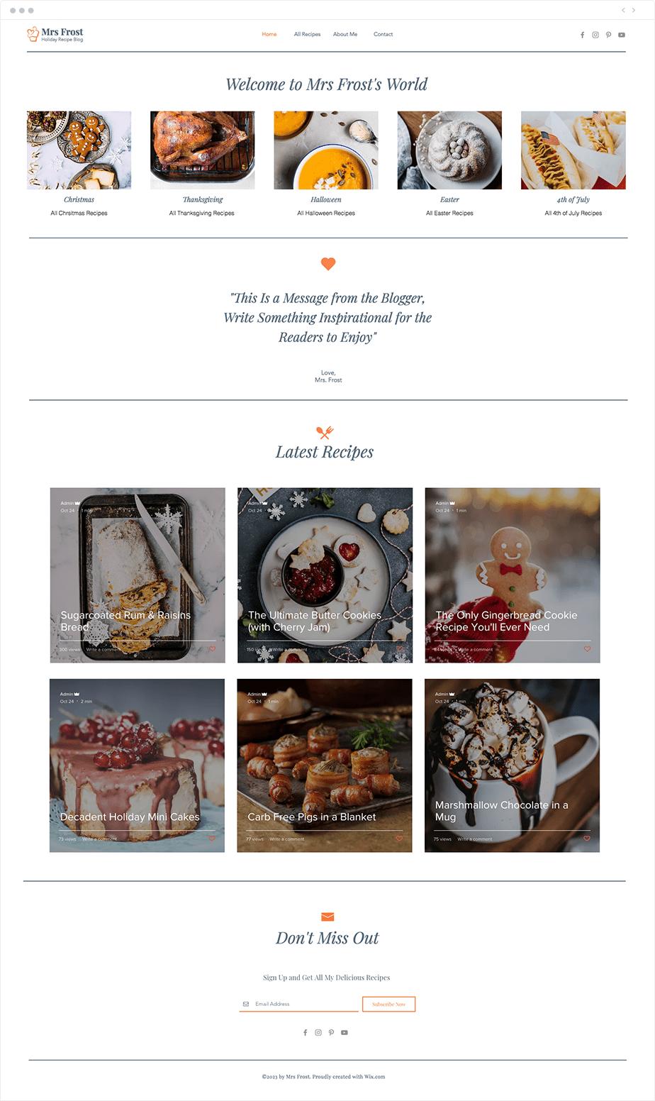 Template Wix para Blog