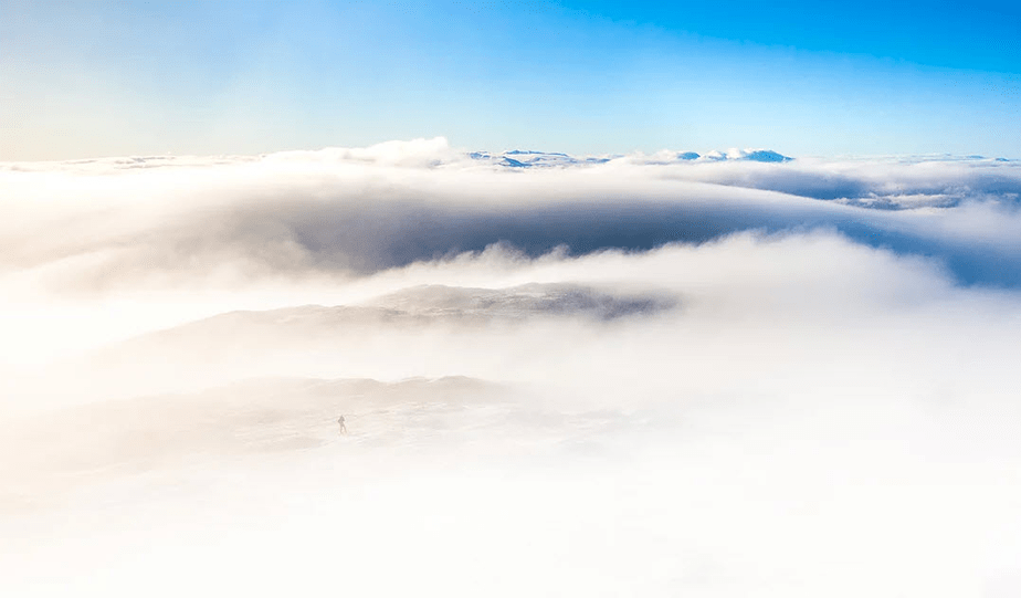 clouds covering the mountains
