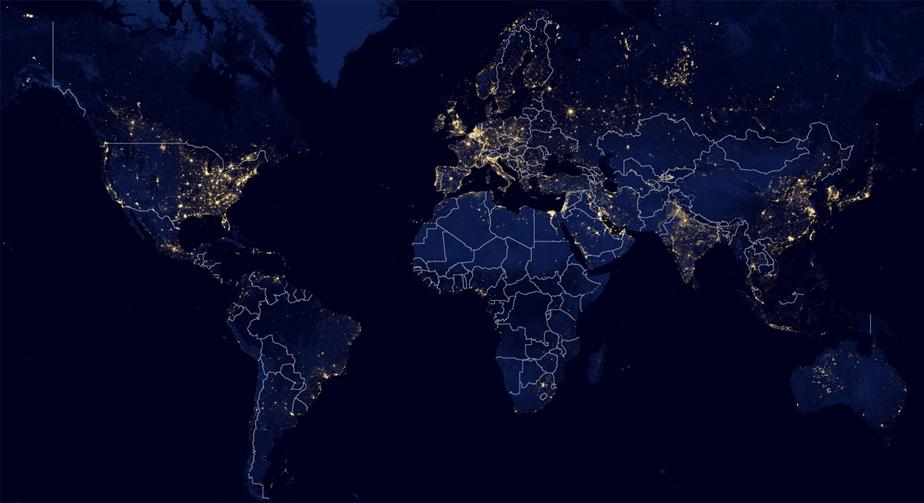 world night lights map