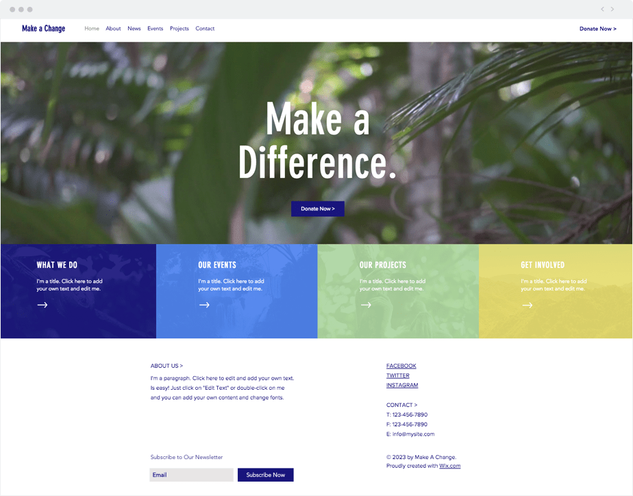 Template Wix ONG ambiental