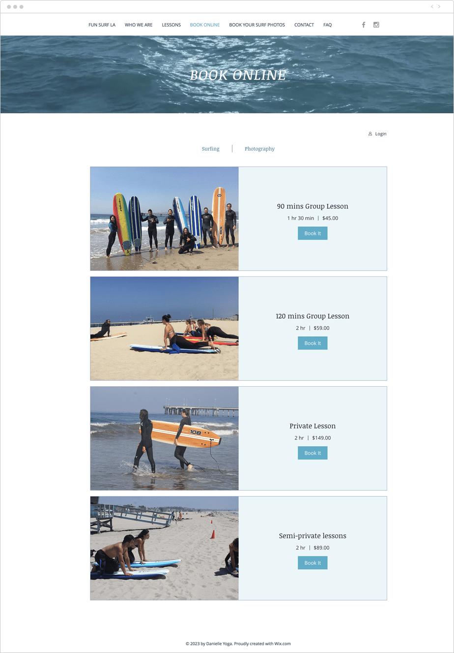 Site de serviços com Wix Bookings
