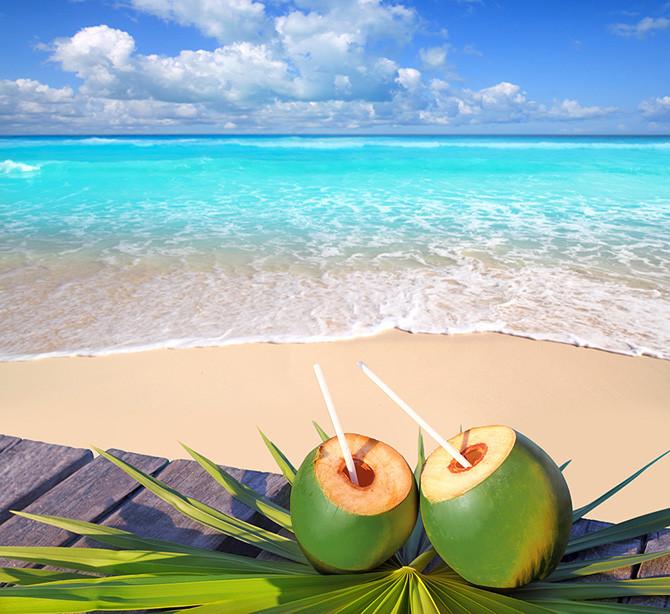 Praia e um Côco Verde