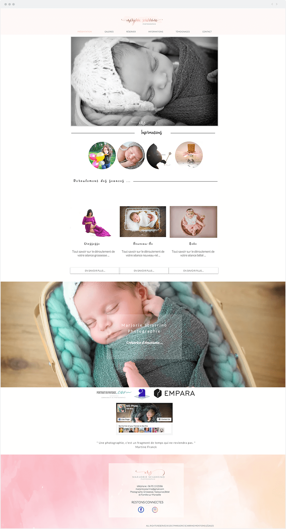 Stunning Wix online portfolio by newborn, baby and children photographer Marjorie Sciarrino