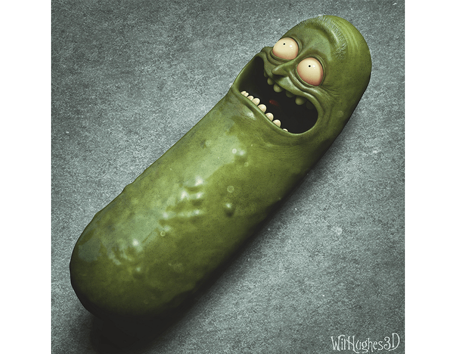 Horror Version of Pickle Rick by Wix User Wil Hughes