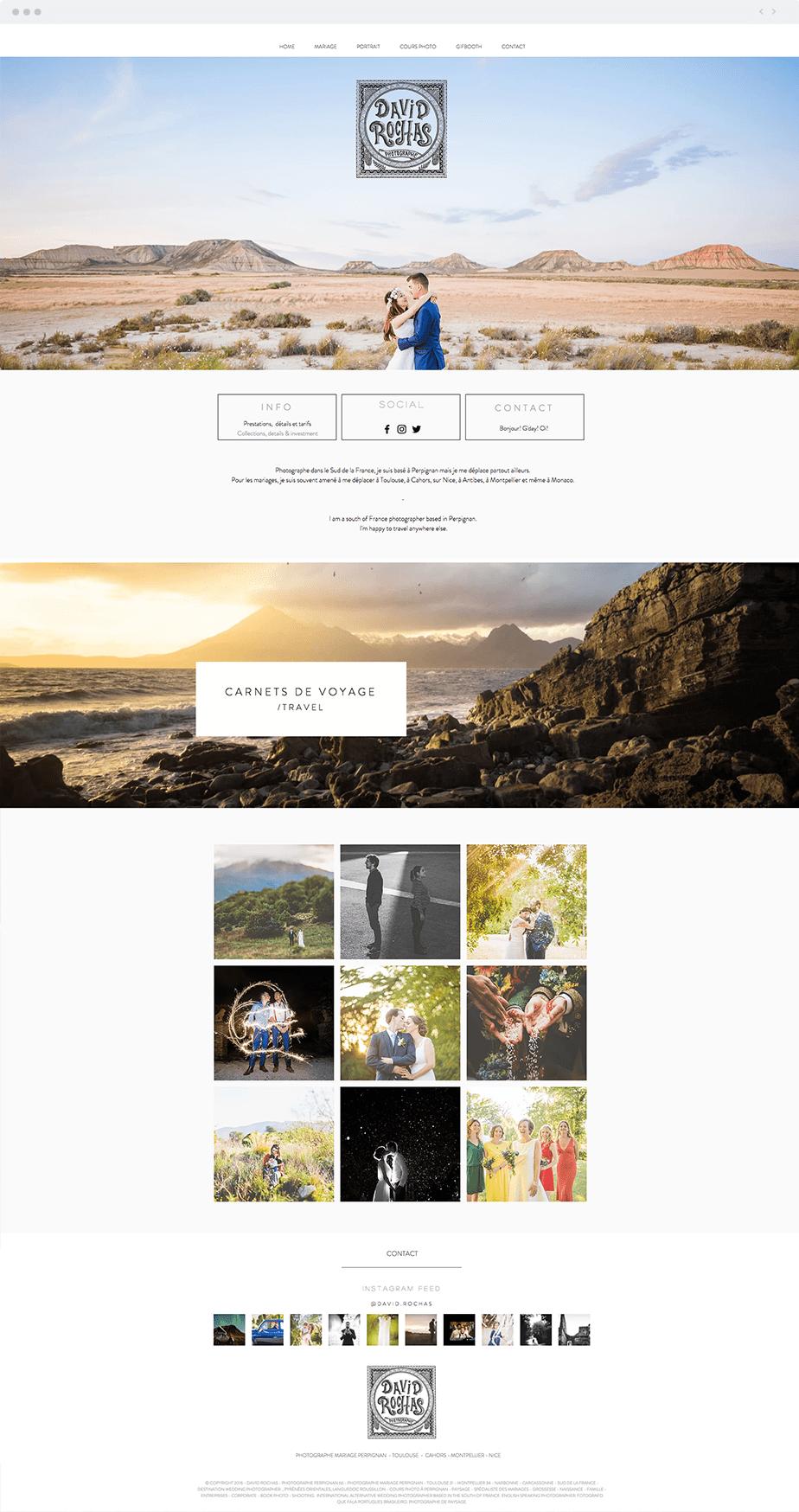 Beautiful Wix photography website by wedding photographer David Rochas