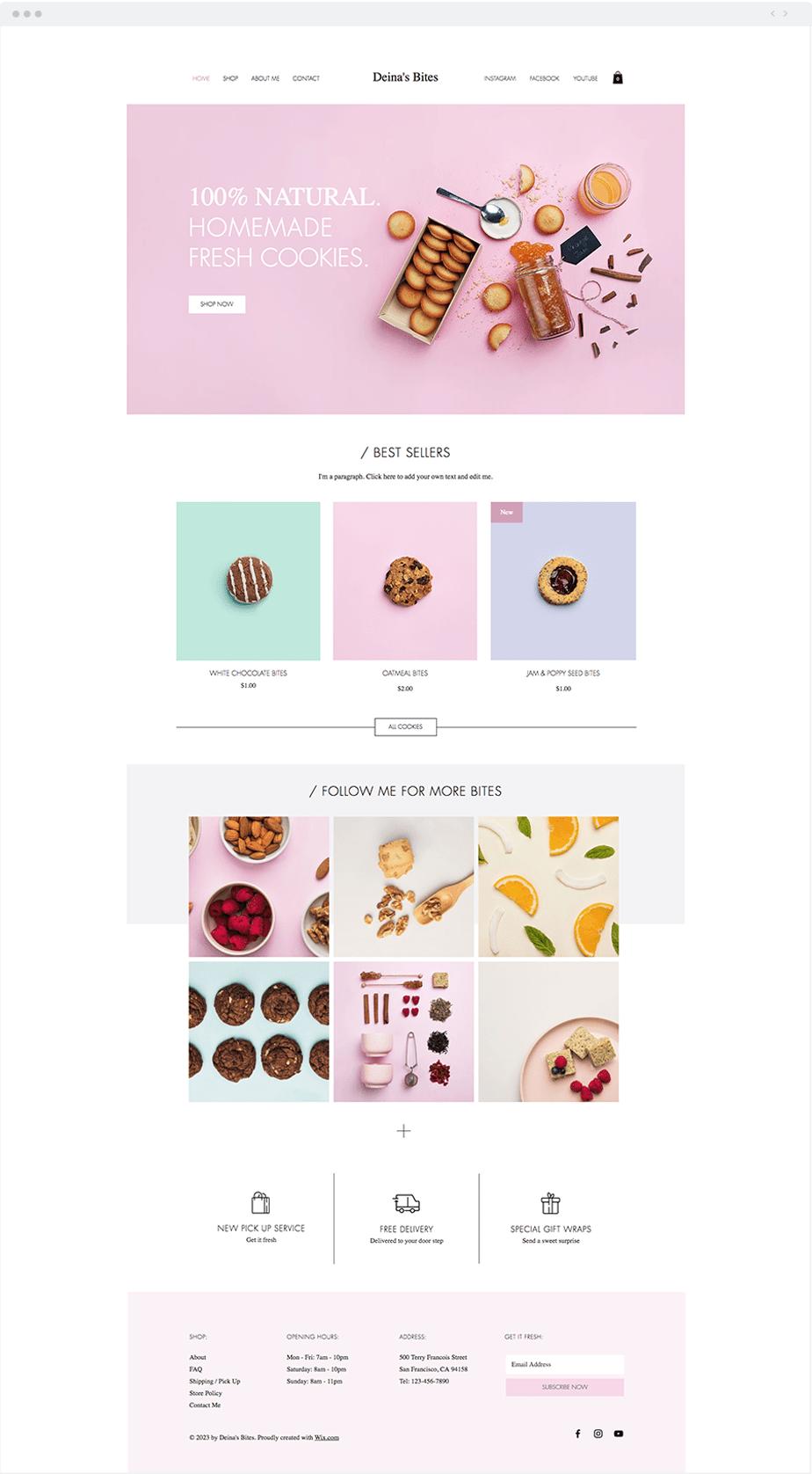 Template Wix Loja de biscoitos caseiros
