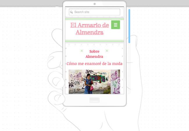Captura de pantalla de la visión movil desde el Editor de Wix