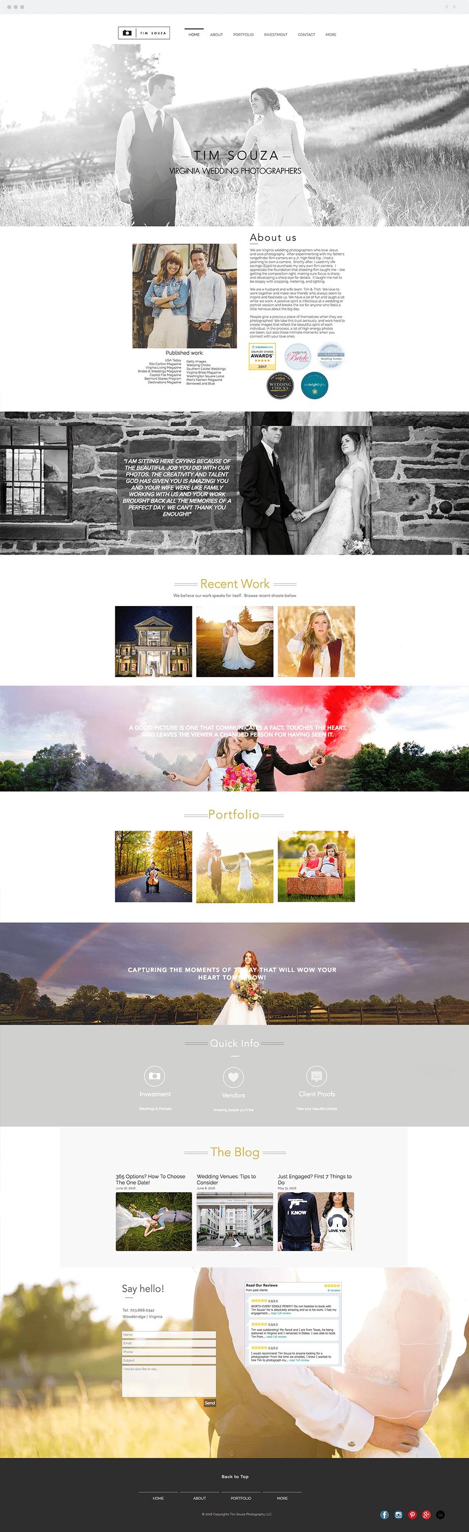 Amazing Wix online portfolio by wedding photographer Tim Souza