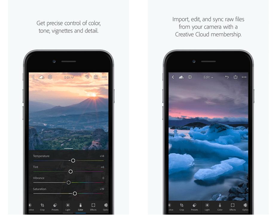 screenshot of Lightroom Mobile app