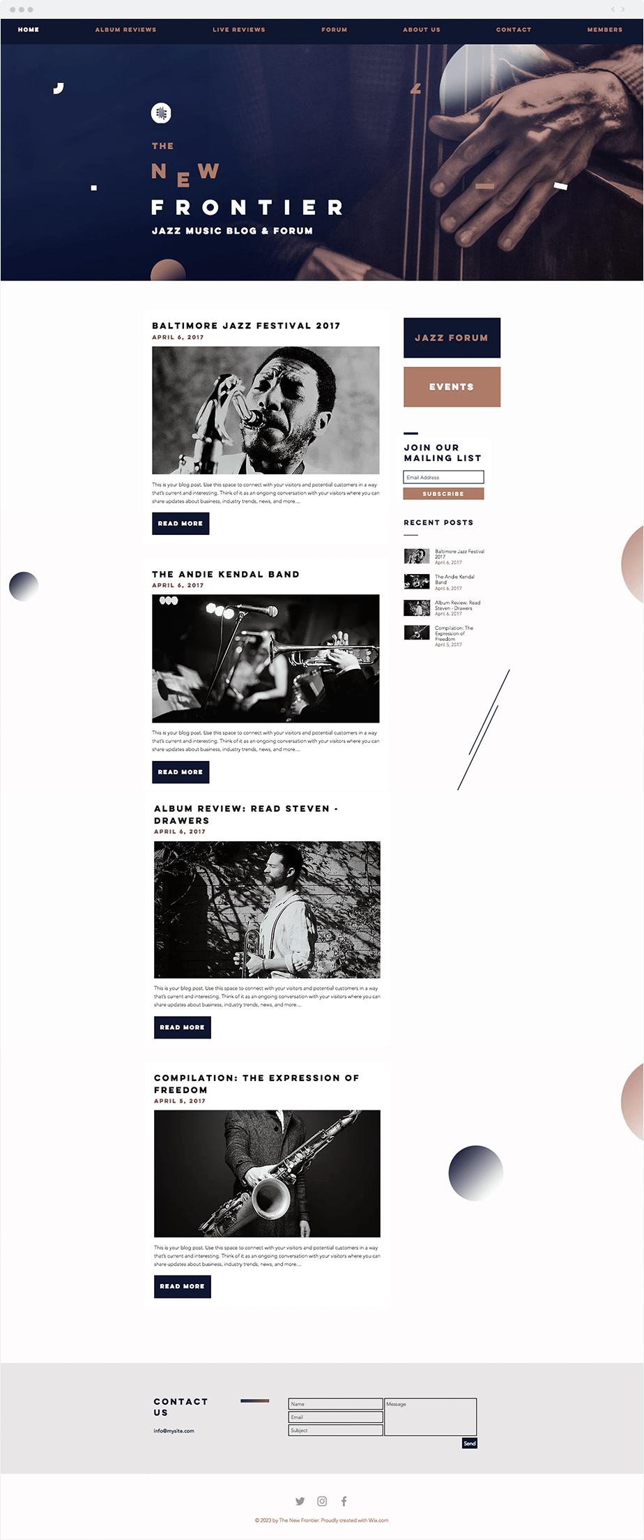 Template Wix Blog de música jazz