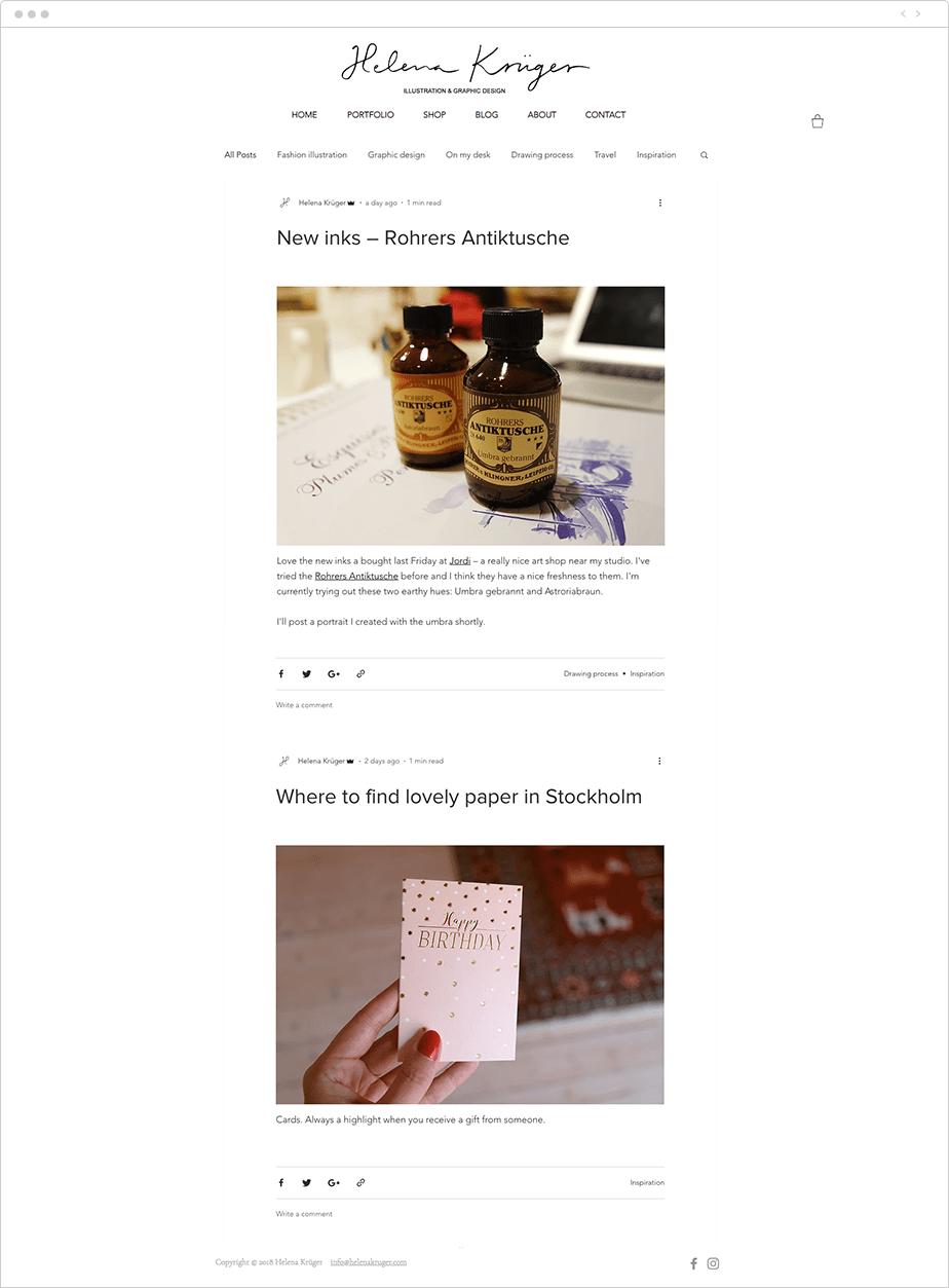 Helena Krüger blog example