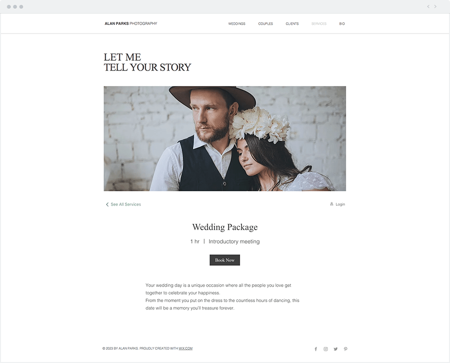 wedding photography website services page