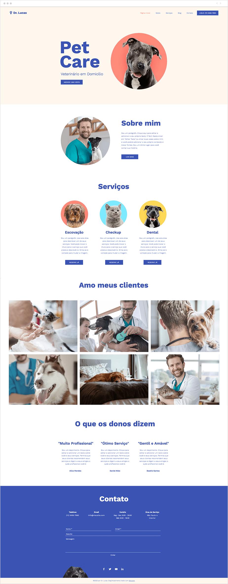 Template para Site de Cuidados com Animais