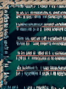aerial view of boats on the port