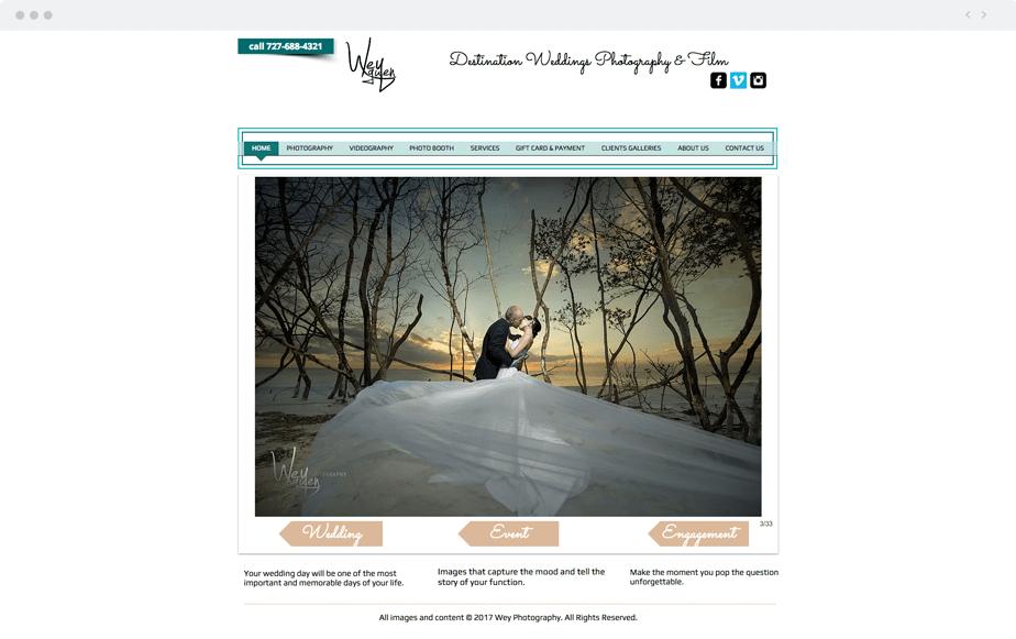 Beautiful Wix photography website by wedding photographer Wey