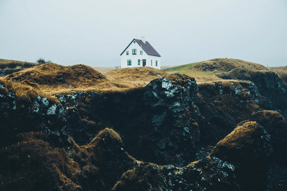 small house over on cliffs