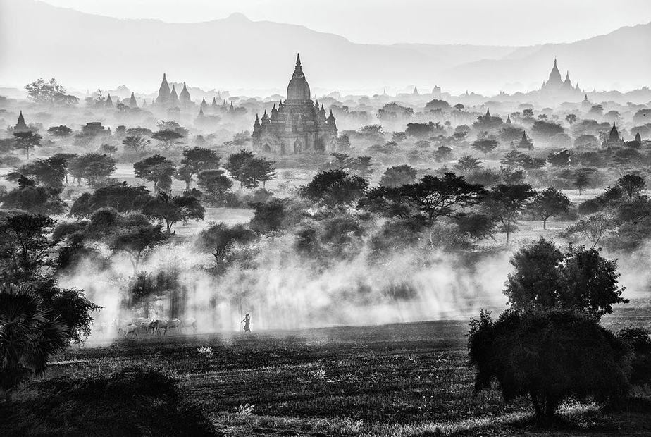 bagan buddhist monuments covered by myst